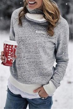 0345fc105d Pavacat Chic Neckline Villus Sweatshirt. Hoodie Outfit CasualSweatshirt  OutfitWinter Sweater OutfitsWinter SweatersSweaters For WomenCute ...