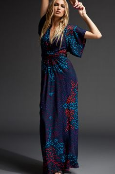 zoomcomplete the look. Issa Kimono Long Dress in Dot Print