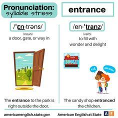 Pronunciation - syllable stress: Entrance English Vinglish, American English, English Words, English Lessons, English Grammar, Learn English, English Tips, Vocabulary List, Vocabulary Words