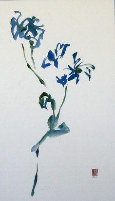 """Blue flowers...blue words"" Sumi-e www.lilithohan.com"