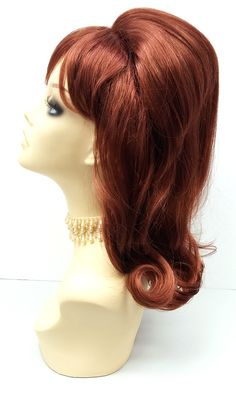 Long 17 inch Red Beehive Costume Wig. Peg Bundy by ParamountWigs