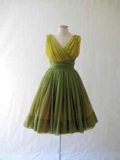 1950's Cleopatra grecian silk georgette party dress in mustard/green by Miss Elliotte