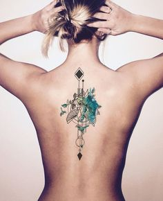 Watercolor Back Tattoo Ideas for Women at MyBodiArt.com - Arrow Bird Spine Tats