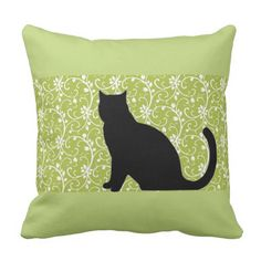 spring green vines with black cat silhouette throw pillow