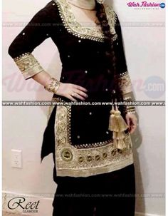 Give yourself a stylish & punjabi look with this Dashing Black Embroidered Punjabi Suit. Embellished with Embroidery work and lace work. Available with matching bottom & dupatta. It will make you noticable in special gathering. You can design this suit in any color combination or in any fabric. Just whatsapp us for more details.  For more details Whatsapp us on +919915178418