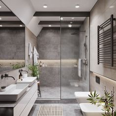 20 Most Beautiful Bathroom Design With Modern Bathtub Ideas - Badezimmer Modern Bathtub, Modern Bathroom Design, Bathroom Interior Design, Modern Bathrooms, Master Bathrooms, Bath Design, Modern Vanity, Modern Shower, Dream Bathrooms