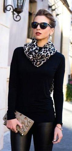 street style all black + leopard print scarf