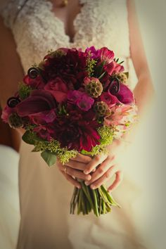 purple & red bouquet by Flowers by Antonella