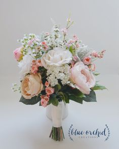 Blush and Ivory Silk Wedding Bouquet with by blueorchidcreations