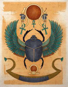 Egyptian Art Print Winged Scarab Sun God Ra - Ugliest Tutorial and Ideas Egyptian Beetle, Egyptian Scarab, Egyptian Symbols, Egyptian Mythology, Egyptian Goddess, Ancient Egyptian Paintings, Ancient Egypt Art, Ancient Aliens, Ancient Artifacts