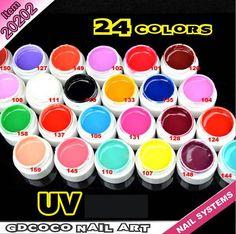 24 cores UV Gel pontas das unhas Pure belas brilhante capa French Manicure Set venda quente GDCOCO em Gel para unhas de Beleza & saúde no AliExpress.com | Alibaba Group