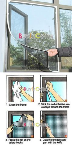 Insect Fly Bug Mosquito Door Window Net Netting Mesh Screen Sticky Velcro Tape -- BuyinCoins.com