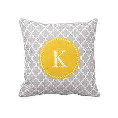 #Grey #Yellow #Moroccan #Pattern #Throw #Pillows #Cushions #Monogram #trendy http://www.zazzle.com/grey_yellow_moroccan_pattern_monogram_pillows-189872335024809929?rf=238213022379565456