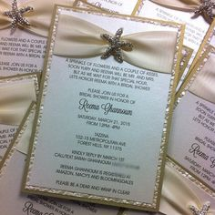 Starfish Brooch Destination Wedding Bridal Shower Invitations custom made by Place Of Events