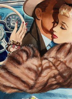 Vintage Illustrations Illustrated by Jon Whitcomb - Am I the only one who thinks she is sneaking a look at her watch? If so, this guy is wasting his time. Retro Kunst, Retro Art, Pin Ups Vintage, Vintage Images, Vintage Fur, Romance Art, Vintage Romance, Pulp Fiction Kunst, Pop Art