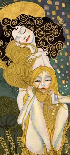 Klimpt inspired ... Rapunzel: Captivating Illustrations of Classic Fairy Tales From the Brothers Grimm in famous painters style