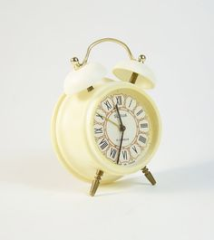 Vintage white alarm clock SLAVA Soviet mechanical by GeorgiVintage, $39.00