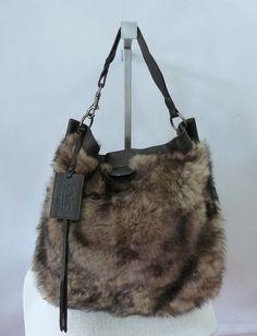 aa47f130a4de  1500 Women s Ralph Lauren Extra Large Shearling Hobo Bag Brown One Size  NWT  RalphLauren