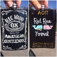 Painted a flask for my formal date Fraternity Coolers, Frat Coolers, Bridesmaid Boxes, Asking Bridesmaids, Kappa Delta, Pi Beta Phi, Bubba Keg, Cooler Designs, Cooler Painting
