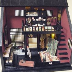 """Is """"Brothels style draper"""" 1 / 12scale work of the early days.  # Japanese style doll house # Brothels # red-light district # draper # kimono"""