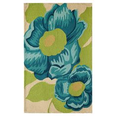 Found it at Wayfair - Lanai Light Blue & Green Camellia Rug
