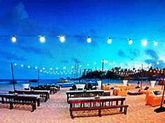 string lights on the beach