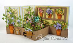 Come check out how I made this fun die cut flower Z fold box card using many differernt sets of dies made by Rubbernecker Stamps. Z Cards, Pop Up Cards, Neli Quilling, Fancy Fold Cards, Folded Cards, Handmade Greetings, Greeting Cards Handmade, Rena, Flower Cart