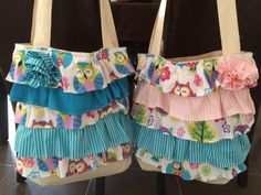 Pink and blue ruffle bags