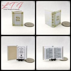 Efficient Vtg Dollhouse Miniature Doll Faux Holy Bible Good Book Furniture Accessory Dollhouse Miniatures