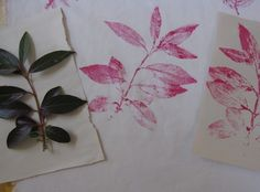print leaves on fabric using fabric paint  -- from http://www.artfulparent.com/2010/05/printing-leaves-on-fabric.html?pintix=1