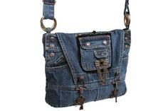 Steampunk Bag / Denim Purse / Recycled Denim by kkdesignerhandbags Diy Jeans, Goth Vintage, Vintage Teen, Mochila Jeans, Diy Sac, Bags For Teens, Denim Purse, Denim Ideas, Denim Crafts