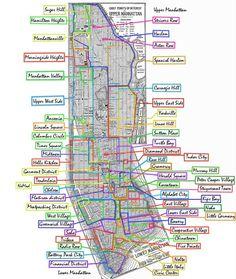 Taxi Amarelo dicas de Nova York por Gisela Gueiros » Mapa Preciso dos Bairros de Manhattan