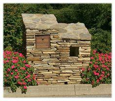 Stone mailbox and newspaper box