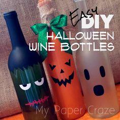 Easy DIY Halloween Wine Bottles