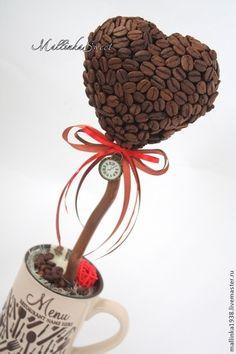 """Topiary ruční.  Fair Masters - ruční.  Koupit Topiary strom štěstí tvarovanými kávy """"Čas na kávu.""""  Ruční výroba."""