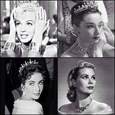 Marilyn Monroe, Audrey Hepburn, Elizabeth Taylor and Grace Kelly