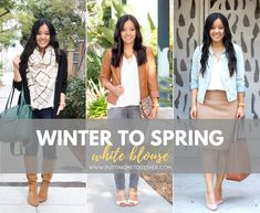 Today's post is a mix of winter and spring style! We're talking about how to take a white blouse and style it in a winter outfit, and then how to style it later for spring. Spring Outfits, Kids Outfits, Casual Outfits, Comfortable Outfits, Work Outfits, Ted White, White Tunic Tops, White Blouses, Fashion Jackson