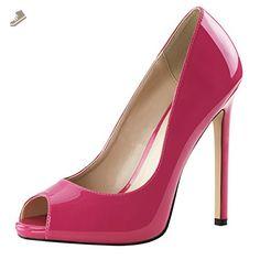 Womens Peep Toe Pumps Patent Hot Pink Shoes Platforms Stilettos 5 Inch Heels Size: 7 - Summitfashions pumps for women (*Amazon Partner-Link)
