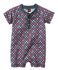 Look at this Blue & Red Kayaan Woodblock Henley Romper - Infant on #zulily today!