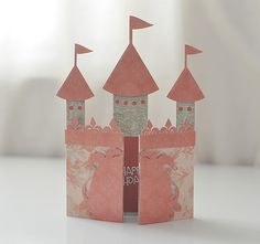 My cousin turned 5 last week and had her birthday party over the weekend. I wanted to make her a special card that she would love. What girl does not want to be a princess and live in a castle? I put together this castle card for her. Castle Party, Karten Diy, Ideias Diy, Shaped Cards, Cricut Cards, Pop Up Cards, Folded Cards, Creative Cards, Kids Cards