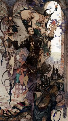 "The Incredible Illustrations of Flame.Take a look at the astounding illustrations by Japanese artist ""Flame."" These works honorably show their respect to early Century illustrator Harry Clarke. Art Inspo, Kunst Inspo, Art And Illustration, Art Illustrations, Art Noir, Arte Indie, Arte Obscura, Art Anime, Fantasy Kunst"