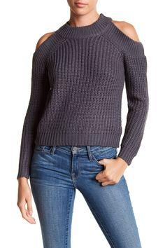 Vena Long Sleeve Cold Shoulder Sweater
