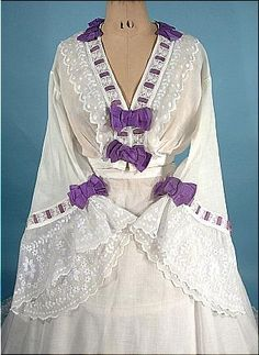 Bodice and Sleeve Detail of White Linen Gown Trimmed in Purple Ribbon, circa 1860s