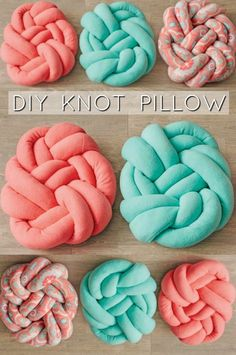 Make your own knotted fleece pillow! All you will need is 1 yard of fleece, 1 large package of polyester stuffing and a sewing machine. Cute Crafts, Crafts To Make, Crafts For Kids, Arts And Crafts, Teen Girl Crafts, Fabric Crafts, Sewing Crafts, Sewing Projects, Fleece Projects