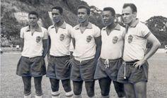 Benê, Mengálvio, Quarentinha, Pelé e Pepe em treino da seleção brasileira de 1962