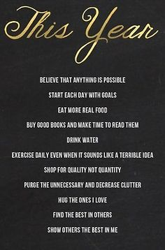 Good resolutions and rules to live by