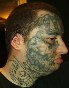 77d69e09a Crazy face tattoos for man - Tattooimages.biz Bad Face Tattoos, Funny  Tattoos,