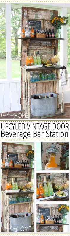 Vintage Decor Ideas Upcycled Vintage Door Beverage Bar Station - Taking old salvaged doors and repurposing them is a really cool way to add some interest to a room. Check 19 old door ideas from shelving to coffee tables.