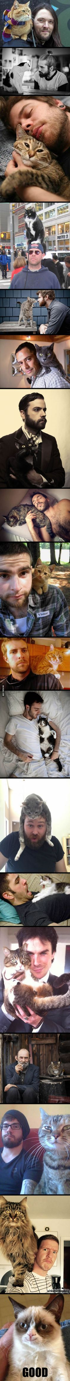 17 Pictures Show You How To Be Manly With A Cat