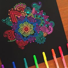 Heyyy Just posting a little progress shot of my gelly roll doodle which is gonna be mega big hopefully Make sure you keep checking out my story for updates! Lots of exciting things to come Hope your all having a super amazing day •• #gellyroll#paper#black#colours#mandala#zengangle#zen#art#artist#colours#pink#blue#instaart#arty#paint#sharpies#bics#vibrant